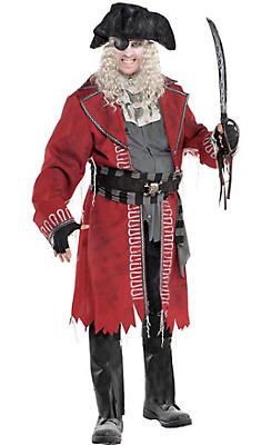 Adult Zombie Pirate Captain Costume Plus Size