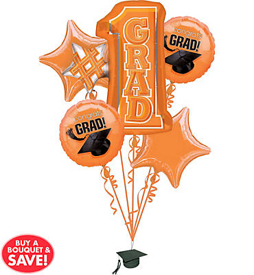 Foil Orange #1 Grad Graduation Balloon Bouquet 5pc