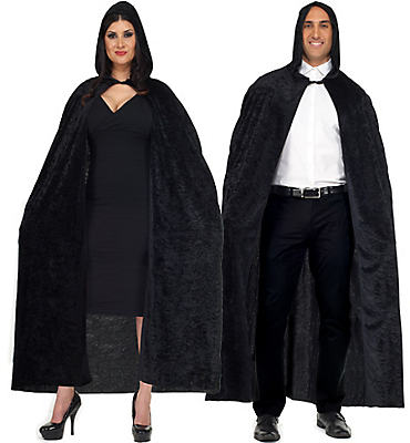 Adult Black Velvet Hooded Cape