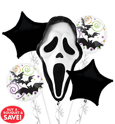 Ghost Face Halloween Balloon Bouquet 5pc