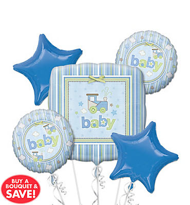 Foil Carter's Boy Baby Shower Balloon Bouquet 5pc