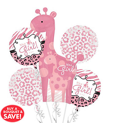 Foil Pink Safari Baby Shower Balloon Bouquet 5pc