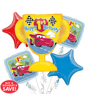 Foil Cars 1st Birthday Balloon Bouquet 5pc