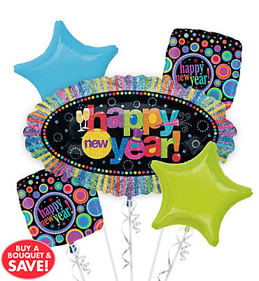 Foil Marquee Happy New Years Balloon Bouquet 5pc