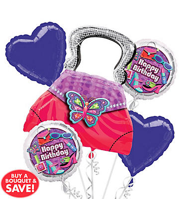 Glitzy Girl Balloon Bouquet 5pc