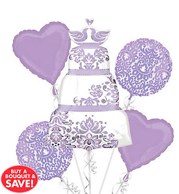 Foil Lilac Wedding Balloon Bouquet 5pc