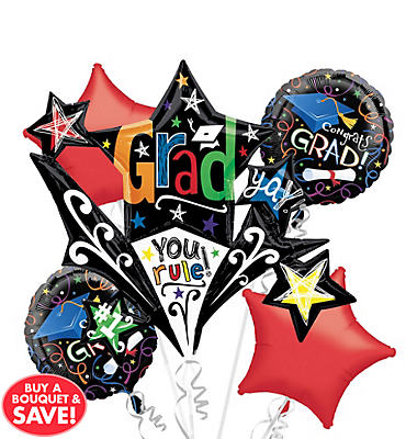 Foil Starburst Graduation Balloon Bouquet 5pc