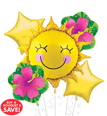 Foil Grinning Sun Balloon Bouquet 5pc