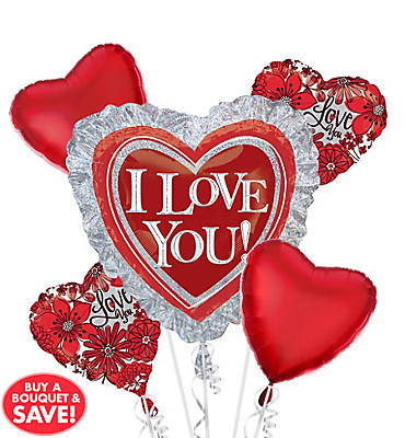 Foil Holographic I Love You Ruffle Heart Balloon Bouquet 5pc
