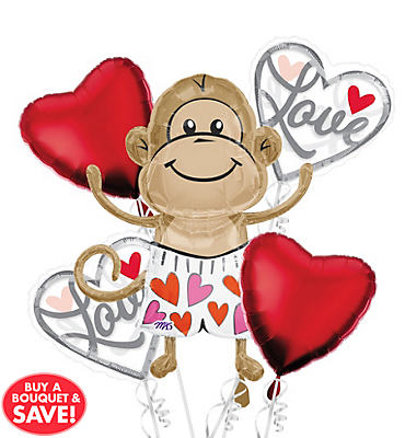 Foil Love Monkey Valentines Day Balloon Bouquet 5pc