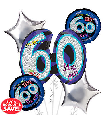 60th Birthday Balloon Bouquet 5pc - Oh No!
