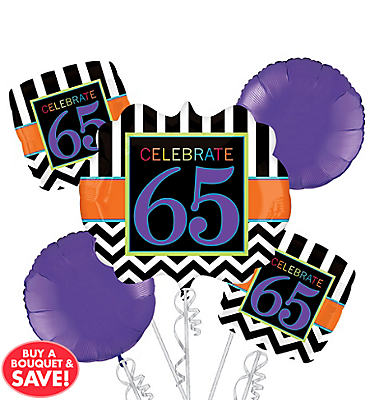 65th Birthday Balloon Bouquet 5pc- Giant Chevron
