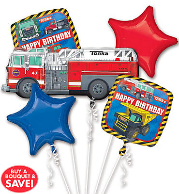 Happy Birthday Tonka Truck Balloon Bouquet 5pc