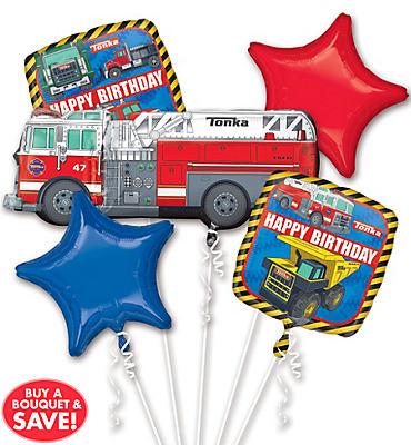 Happy Birthday Tonka Truck Balloon Bouquet 5pc