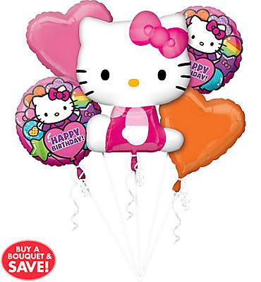 Happy Birthday Rainbow Hello Kitty Balloon Bouquet 5pc