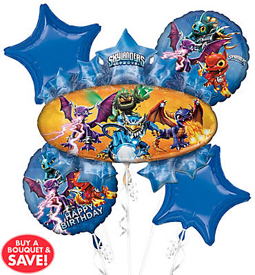 Skylanders Birthday Balloon Bouquet 5pc