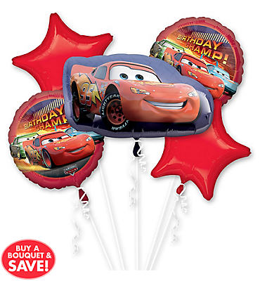 Happy Birthday Cars Balloon Bouquet 5pc