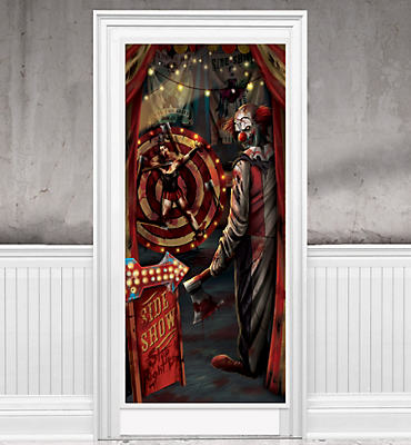 Evil Side Show Clown Door Cover - Creepy Carnival