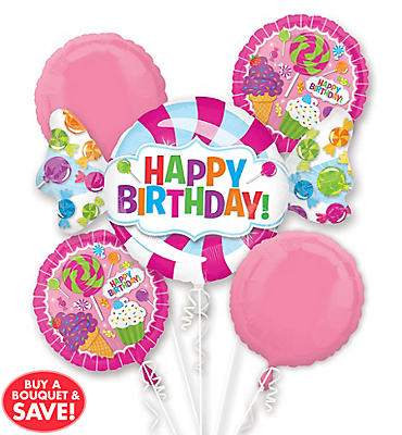 Happy Birthday Balloon Bouquet 5pc - Sweet Shop Candy