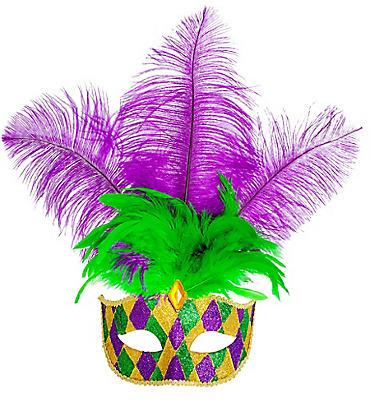 Glitter Harlequin Feather Mardi Gras Masquerade Mask