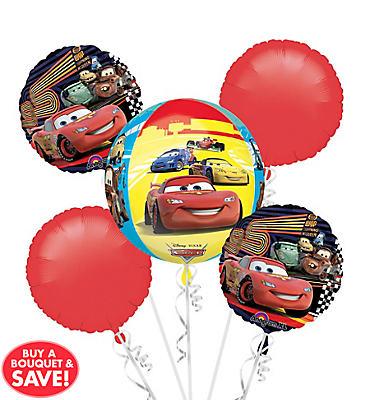Cars Birthday Balloon Bouquet 5pc - Orbz