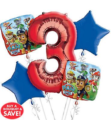 PAW Patrol 3rd Birthday Balloon Bouquet 5pc