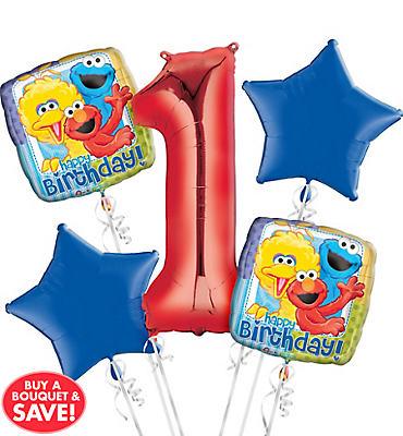 Sesame Street 1st Birthday Balloon Bouquet 5pc