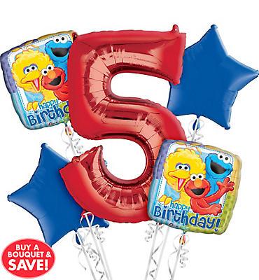 Sesame Street 5th Birthday Balloon Bouquet 5pc