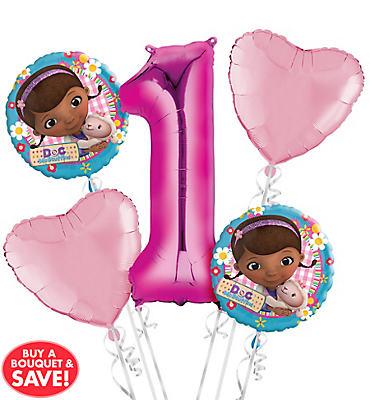 Doc McStuffins 1st Birthday Balloon Bouquet 5pc