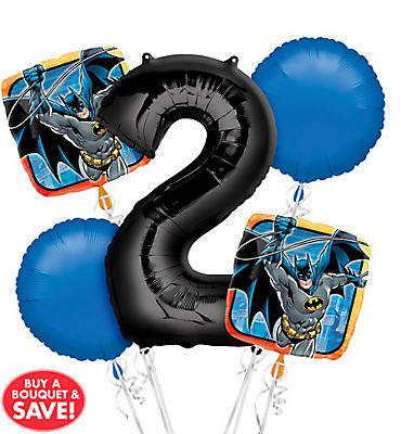 Batman 2nd Birthday Balloon Bouquet 5pc