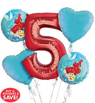 Little Mermaid 5th Birthday Balloon Bouquet 5pc