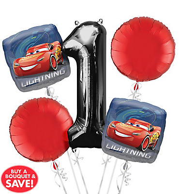 Cars 1st Birthday Balloon Bouquet 5pc