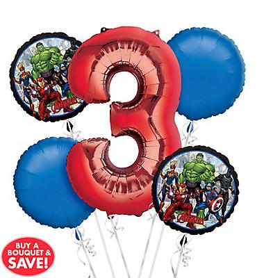 Avengers 3rd Birthday Balloon Bouquet 5pc
