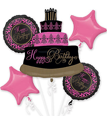 Damask Birthday Balloon Bouquet 5pc - Fabulous Celebration