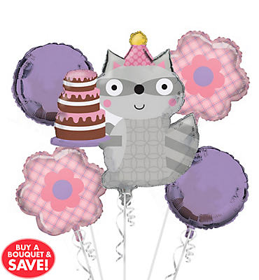 Girl Birthday Balloon Bouquet 5pc - Happi Woodland
