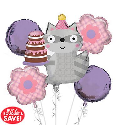 Girl Birthday Balloon Bouquet 5pc - Happi Woodland