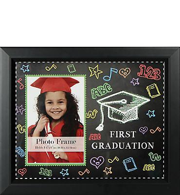 Black First Graduation Photo Frame