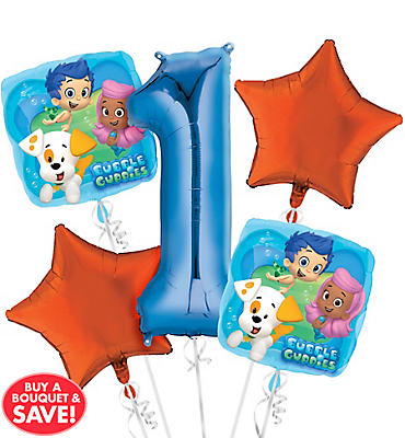 Bubble Guppies 1st Birthday Balloon Bouquet 5pc