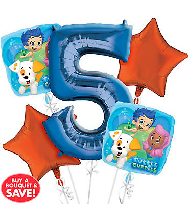 Bubble Guppies 5th Birthday Balloon Bouquet 5pc