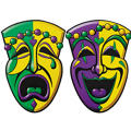 Comedy and Tragedy Mardi Gras Cutouts 16in 2ct