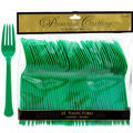 Festive Green Premium Plastic Forks 48ct