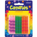Neon Stripe Birthday Candles 2in 24ct