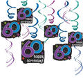 The Party Continues 60th Birthday Swirl Decorations 12ct