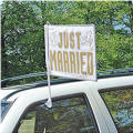 Just Married Wedding Car Flag