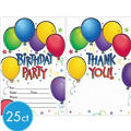Balloon Fun Invitations & Thank You Notes for 25
