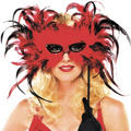 Feather Mask with Sequinned Handle