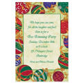 Ornaments Tied with Ribbon Custom Christmas Invitation