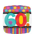 60th Birthday Dots & Stripes Foil Balloon 18in