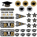 Black, Silver & Gold Graduation Cutouts 30ct