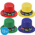 Plastic New Years Toast Top Hats 12ct <span class=messagesale><br><b>$1.99 per piece!</b></br></span>
